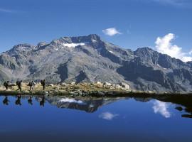 Randonneurs se reflétant dans un lac, avec le Gélas en arrière plan